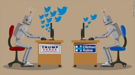 Concept of robots tweeting during 2016 US election