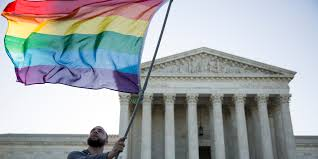 LGBTQ flag in front of US Supreme Court