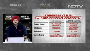 Television: Vidya Narayanan on NDTV discussing misinformation in India