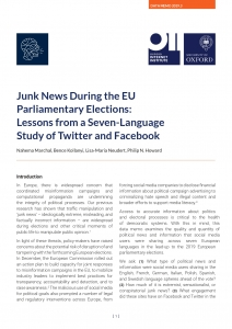 Junk News during the EU Parliamentary Elections
